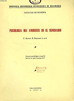 PSICOLOGIA DEL AMBIENTE EN EL SEMINARIO: ORELLANO P. MANUEL B.