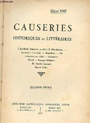 CAUSERIES HISTORIQUES ET LITTERAIRES: BIRE EDMOND