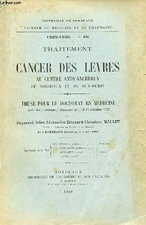 THESE N° POUR LE DOCTORAT EN MEDECINE: RAYMOND-JULES-ALEXANDRE-EDOUARD-THEDORE MALLET