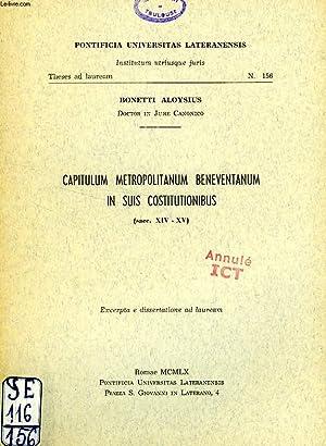 CAPITULUM METROPOLITANUM BENEVENTANUM IN SUIS COSTITUTIONIBUS (SACC. XIV-XV): ALOYSIUS BONETTI