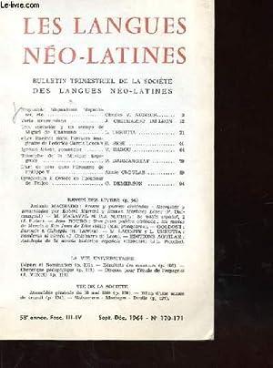 LES LANGUES NEO LATINES BULLETIN TRIMESTRIEL DE LA SOCIETE DES LANGUES NEO LATINES III - IV: ...
