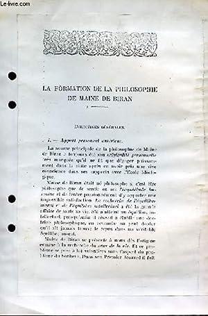 La Formation de la Philosophie de Maine de Biran.: BOURJADE JEAN