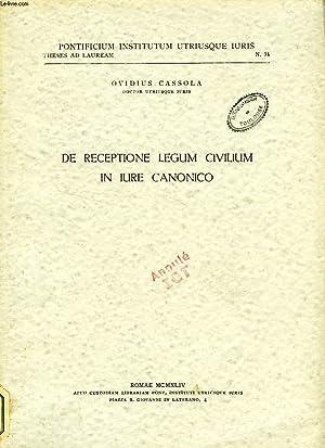 DE RECEPTIONE LEGUM CIVILIUM IN IURE CANONICO: CASSOLA OVIDIUS