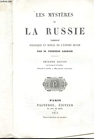 LES MYSTERES DE LA RUSSIE - TABLEAU: M. FREDERIC LACROIX