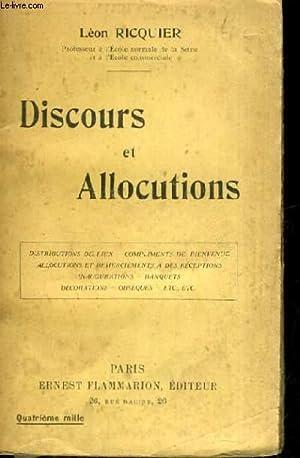 DISCOURS ET ALLOCUTIONS DISTRIBUTIONS DE PRIX COMPLIMENTS DE BIENVENUE ALLOCUTIONS ET REMERCIEMENTS...