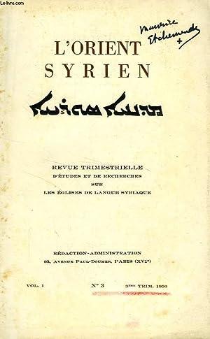 L'ORIENT SYRIEN, VOL. I, N° 3, 3e: COLLECTIF