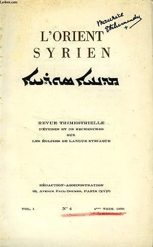 L'ORIENT SYRIEN, VOL. I, N° 4, 4e: COLLECTIF