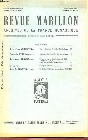 REVUE MABILLON - ARCHIVES DE LA FRANCE MONASTIQUE - XLIVe ANNEE - N° 176: COLLECTIF