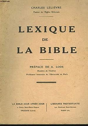 LEXIQUE DE LA BIBLE: CHARLES LELIEVRE