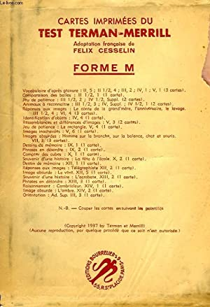 CARTES IMPRIMEES DU TEST TERMAN-MERRILL, FORME M: CESSELIN FELIX