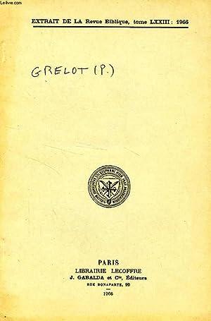 EXTRAIT DE LA REVUE BIBLIQUE, TOME LXXIII, 1966, UNE TOSEPHTA TARGOUMIQUE SUR ZACHARIE, II, 14-15: ...