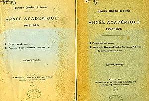 UNIVERSITE CATHOLIQUE DE LOUVAIN, ANNEES ACADEMIQUES 1919-1926, 6 NUMEROS: COLLECTIF