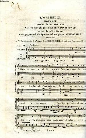 L'ORPHELIN, ROMANCE MISE EN MUSIQUE: CORREARD M., DUVERNOY FREDERIC