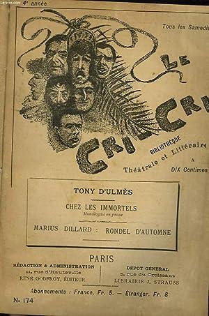 "LE CRI-CRI"", BIBLIOTHEQUE THEATRALE, HEBDOMADAIRE. N°174. TONY: COLLECTIF"