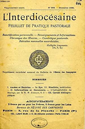 L'INTERDIOCESAINE, FEUILLET DE PRATIQUE PASTORALE, 26e ANNEE, N° 292, DEC. 1930: COLLECTIF