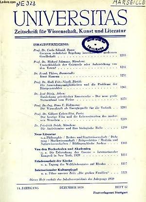 UNIVERSITAS, 14. JAHRGANG, HEFT 12, DEZ. 1959, ZEITSCHRIFT FUR WISSENSCHAFT, KUNST UND LITERATUR: ...