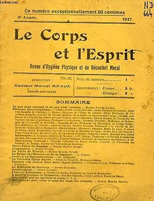 LE CORPS ET L'ESPRIT, 3e ANNEE, 1917, REVUE D'HYGIENE ET DE RECONFORT MORAL: COLLECTIF