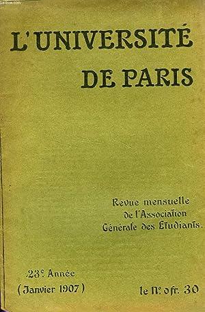 L'UNIVERSITE DE PARIS, 23e ANNEE, JAN. 1907: COLLECTIF