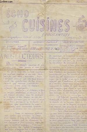 L'ECHO DES CUISINES ( ROULANTES). N°1. MARS 1916. A NOS LECTEURS. LA GRAISSE MANQUE EN ...
