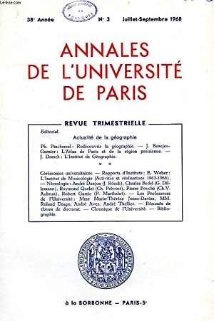 ANNALES DE L'UNIVERSITE DE PARIS, 38e ANNEE, N° 3, JUILLET-SEPT. 1968: COLLECTIF