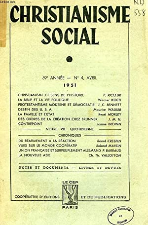 CHRISTIANISME SOCIAL, 59e ANNEE, N° 4, AVRIL 1951: COLLECTIF