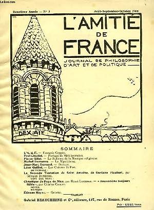 L'AMITIE DE FRANCE, 2e ANNEE, N° 3, AOUT-OCT. 1908, JOURNAL DE PHILOSOPHIE, D'ART ET ...