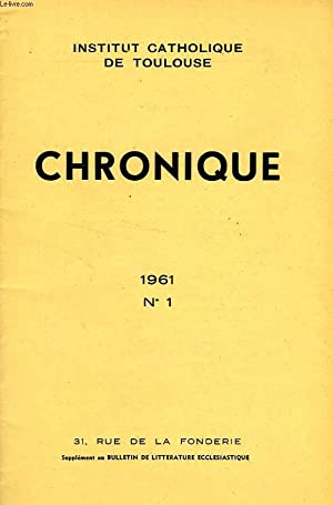 CHRONIQUE, N° 1, 1961: COLLECTIF