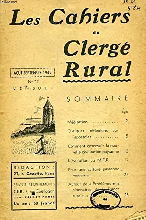 LES CAHIERS DU CLERGE RURAL, 1945-1961, 120 NUMEROS (INCOMPLET): COLLECTIF