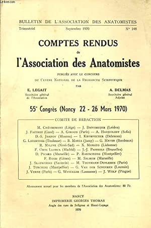BULLETINS DE L'ASSOCIATION DES ANATOMISTES n°148 : comptes rendus de l'association ...