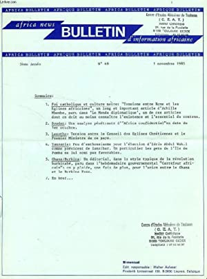 AFRICAN NEWS BULLETIN, BULLETIN D'INFORMATION AFRICAINE (ANB-BIA), 1985-1996, 235 NUMEROS (...