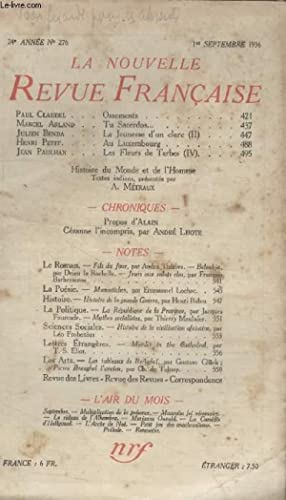 COLLECTION LA NOUVELLE REVUE FRANCAISE N° 276. OSSEMENTS PAR PAUL CLAUDEL/ TU SACERDOS PAR MARCEL ...