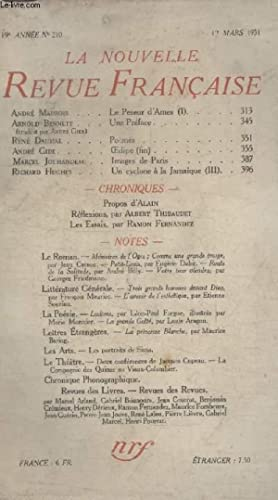 COLLECTION LA NOUVELLE REVUE FRANCAISE N° 210. LE PESEUR DAMES PAR ANDRE MAUROIS/ UNE ...