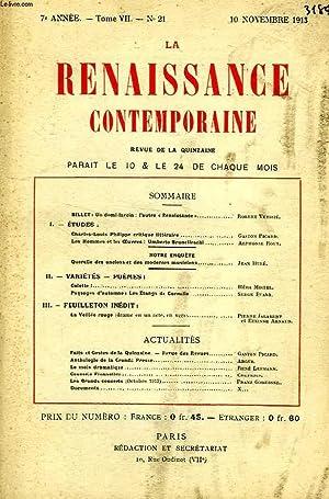 LA RENAISSANCE CONTEMPORAINE, 7e ANNEE, N° 21, NOV. 1913: COLLECTIF