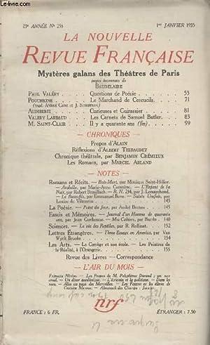 COLLECTION LA NOUVELLE REVUE FRANCAISE N° 256. MYSTERES GALANS DES THEATRE DE PARIS. QUESTIONS DE ...