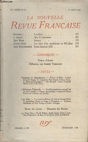COLLECTION LA NOUVELLE REVUE FRANCAISE N° 215.: COLLECTIF.