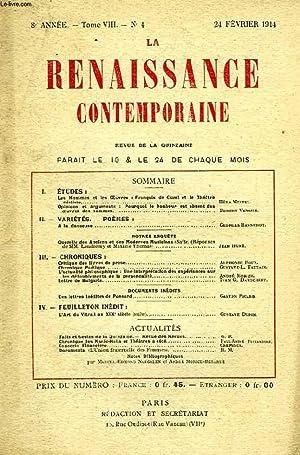 LA RENAISSANCE CONTEMPORAINE, 8e ANNEE, N° 4, FEV. 1914: COLLECTIF