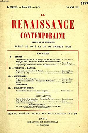 LA RENAISSANCE CONTEMPORAINE, 7e ANNEE, N° 9, MAI 1913: COLLECTIF
