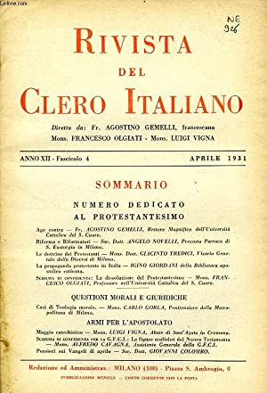 RIVISTA DEL CLERO ITALIANO, ANNO XII, FASC. 4, APRILE 1931: COLLECTIF