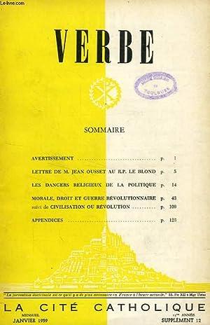 VERBE, 13e ANNEE, SUPPLEMENT N° 12, JAN. 1959: COLLECTIF