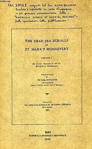 THE DEAD SEA SCROLLS OF ST. MARK'S MONASTERY, FAC-SIMILE: BERARDI Sac. GUIDO