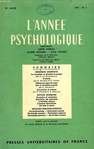 L'ANNEE PSYCHOLOGIQUE, 55e ANNEE, FASC. I, 1955: COLLECTIF