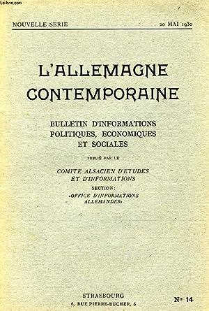 L'ALLEMAGNE CONTEMPORAINE, NOUVELLE SERIE, N° 14, 20 MAI 1930, BULLETIN D'...