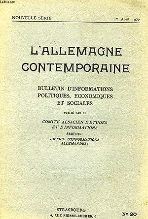L'ALLEMAGNE CONTEMPORAINE, NOUVELLE SERIE, N° 20, 1er AOUT 1930, BULLETIN D'...