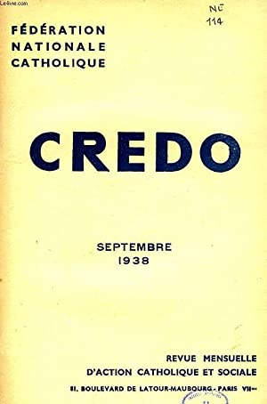 CREDO, SEPT. 1938: COLLECTIF