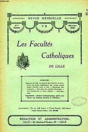 LES FACULTES CATHOLIQUES DE LILLE, 21e ANNEE, N° 5, FEV. 1931: COLLECTIF