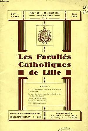 LES FACULTES CATHOLIQUES DE LILLE, 24e ANNEE, N° 9, JUIN 1934: COLLECTIF