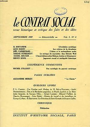LE CONTRAT SOCIAL, VOL. I, N° 4, SEPT. 1957, REVUE HISTORIQUE ET CRITIQUE DES FAITS ET DES ...
