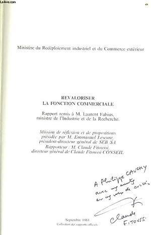 REVALORISER LA FONCTION COMMERCIALE rapport au ministre de l'Industrie et de la Recherche: ...