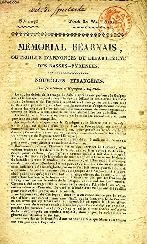 MEMORIAL BEARNAIS, N° 227, 30 MAI 1822, OU FEUILE D'ANNONCES DU DEPARTEMENT DES ...