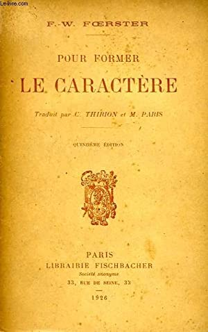 POUR FORMER LE CARACTERE: FOERSTER F.-W.